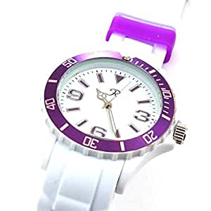 Reflex - SR015 - Montre Mixte Blanche et Violette au Bracelet en Silicone