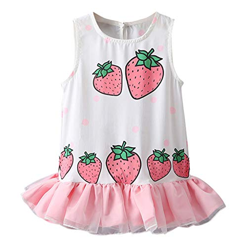 EvansampKleinkind Kinder Baby Mädchen Kleid, Niedliche Skirt Für Tochter Strawberry Druck Patchwork Tulle Ruffled Kleid Sundress(Rosa,120) -