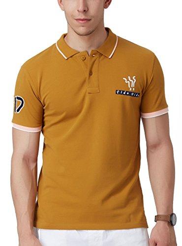 Fido Dido Men's Harvest Polo T-Shirt (Harvest Gold, FDPOLOL200003, Large Size)