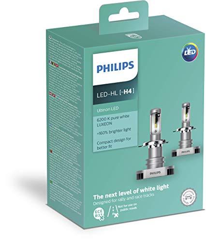 PHILIPS 11342ULWX2 LED Lampadina fari Auto (H4), 6.200K, Set di 2