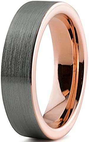 Tungsten Wedding Band Ring 6mm for Men Women Comfort Fit 18K Rose Gold Plated Pipe Cut Flat Brushed Polished Lifetime Guarantee Size 62 (19.7)