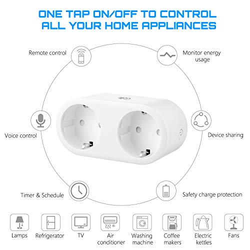 Enchufe Inteligente Wifi, GBlife Enchufe de 2 AC Tomas de Corriente, Control Remoto Control por Voz mediante Aplicación, Monitor de Energía / Temporizador / Función de Compartir / Control Separadamente, Compatible con Amazon Alexa / Google Home / IFTTT
