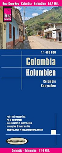 Colombia, mpa de carreteras impermeable. Escala 1:1.400.000. Reise Know-How. por VV.AA.