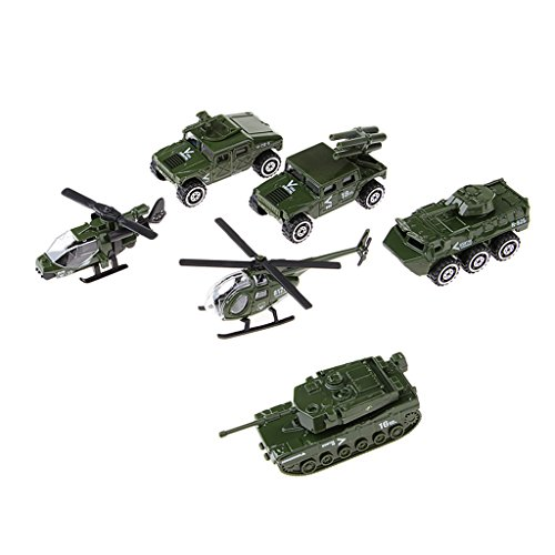 Baoblaze 6tlg Plastik Militär Flugzeug Panzer Armee Figuren Kinder Spielzeug Geschenk (Armee Spielzeug-panzer)