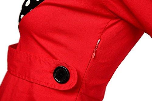Donna Vintage Vestito Coctel Partito Swing Abito Rockabilly Swing Vestiti Rosso