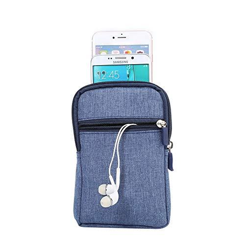 Universal Heavy Duty Robuste Jean Cowboy Hüfttasche Handytasche Tasche Vertikale Smartphone Holster Tasche mit Gürtelclip Hakenschleife Brieftasche Tasche für alle Telefone unter 6,3 Zoll (Hinweis 2 Fälle Mit Gürtel-clip)