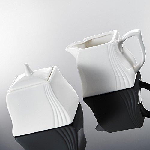 MALACASA, Serie Amparo, 3-teilig Porzellan Milch und Zucker Set mit Deckel, Milchkännchen Zuckerdose Milch- & Zuckerbehälter Küchenhelfer