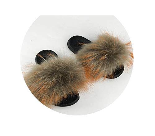 Fur Slippers Women Sliders Casual Fox Hair Flat Fluffy Fashion Home Summer Big Size 45 Furry Flip Flops Shoes,23,11 -