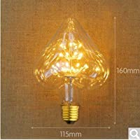 2 x vintage edison lampadina BULBLED E27 Albero a vite Super Star Bar KTV look rétro sorgente luminosa G95,6,led a forma di cuore super star, il caldo colore giallo