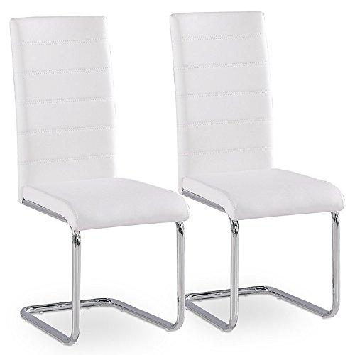 2er Set Esszimmerstuhl Küchenstühle Polsterstuhl Freischwinger Stuhlgruppe (Weiß)
