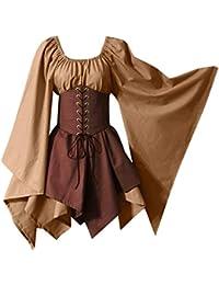 Vestido sin Hombros Medieval Renacentista de Mujer Cintura con Cordon Cintura Alta Verde Disfraces de Cosplay Medieval de Halloween para Mujer Vestido de Corsé de Manga Larga Retro Heligen