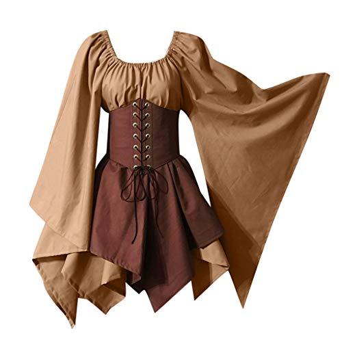Kostüm Steampunk Zigeuner - Lazzboy Halloween Kostüme Gothic Korsett Kleid Frauen Mittelalter Cosplay Retro Langarm (Khaki,Braun)