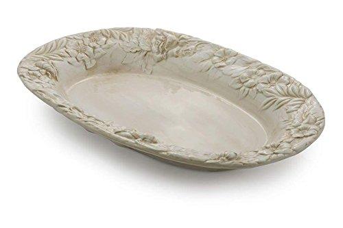 Bassano Ausgefallene italienische Keramik große beige ovale Servierschale 'ANTIK' 57x36,5x8