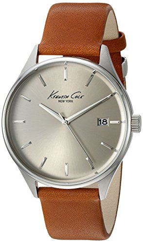 Kenneth Cole New York Men's 'Classic' Quartz Stainless Steel and Brown Leather Dress Watch (Model: 10029307)