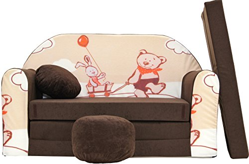 PRO COSMO-K26niños sofá Cama futón con Puff/reposapiés/Almoh
