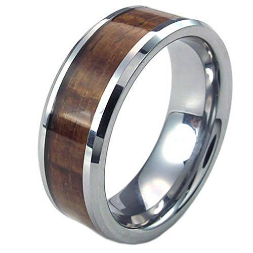 KONOV Schmuck Wolfram Wolframcarbid Herren-Ring, 8mm Holz Bandring Eheringe Verlobungsringe, Braun Silber - Gr. 65 (Für Titan-holz-ring Männer)