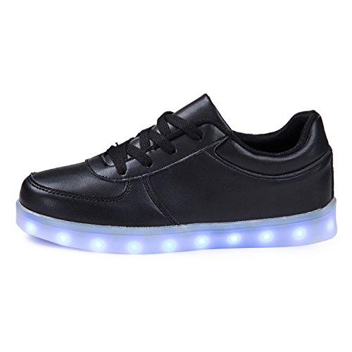 SGoodshoes Enfants Garçons Filles LED Lumineux Clignotante Baskets Chaussures Sneakers Chaussures USB Rechargeable Noir 3