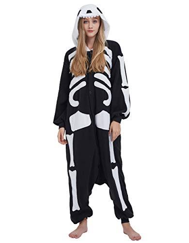 Jumpsuit Onesie Tier Karton Kigurumi Fasching Halloween Kostüm Lounge Sleepsuit Cosplay Overall Pyjama Schlafanzug Erwachsene Unisex Skelett for Höhe 140-187CM -