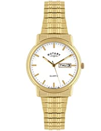 Rotary Men's Quartz Watch with White Dial Analogue Display and Gold Stainless Steel Bracelet GB02764/08