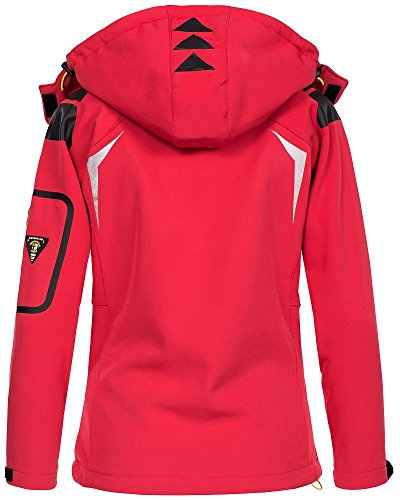 Geographical Norway Damen Softshell Outdoor Jacke Tassion abnehmbare Kapuze coral/anis