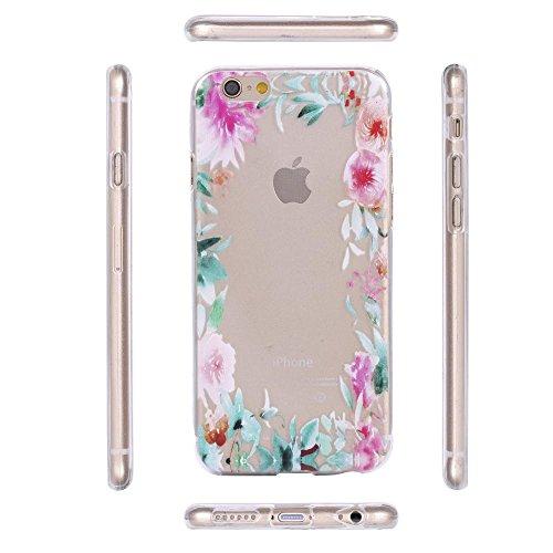 ECENCE APPLE IPHONE 6 6S (4,7) SLIM TPU CASE SCHUTZ HÜLLE HANDY TASCHE COVER TRANSPARENT DURCHSICHTIG CLEAR 12020501 Blumenrahmen