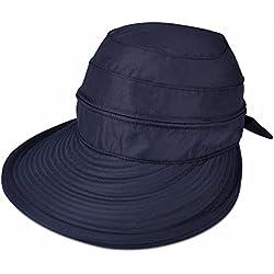 Vbiger Casquette à Visière Anti-soleil Pliable Détachable Zippé pour Eté - Bleu -Taille Unique