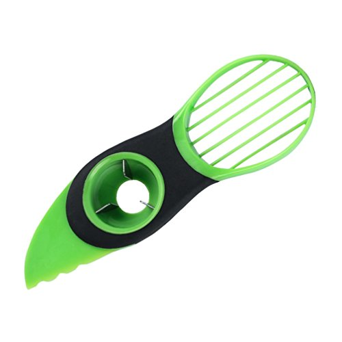 Yuanu Multifonctionnel 3-en-1 Coupe Avocat Slicer Ustensile Safe Durable Avocat Slicer, Pitter Et Cutter Noir&Vert 19.8cm * 6cm * 2.5cm