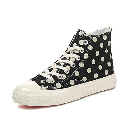 Dot Fashion Sneaker (RHGZ Frauen Mädchen Segeltuchschuhe High Top Personalisierte Farbe Dot Plimsoll Weiche Flache Schnürschuhe Sneakers)