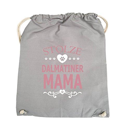 Comedy Bags - Stolze Dalmatiner Mama - HERZ - Turnbeutel - 37x46cm - Farbe: Hellgrau / Rosa-Weiss (Hund Tee Herz)