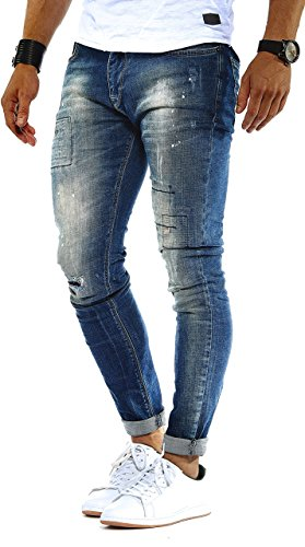 LEIF NELSON Herren Hose Jeans Stretch Jeanshose Freizeithose Denim Slim Fit LN9955BL; W31L32, Blau