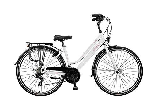 28 Zoll Alu Aluminium City Damen Trekking Fahrrad Cityrad Trekkingfahrrad Trekkingrad Citybike CITYFAHRRAD DAMENFAHRRAD Rad Bike 21 Shimano Gang Beleuchtung Velo Weiss Rosa
