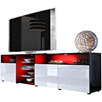 Vladon Meuble TV bas Granada V2, Corps en Noir haute brillance/Façades en Blanc haute brillance