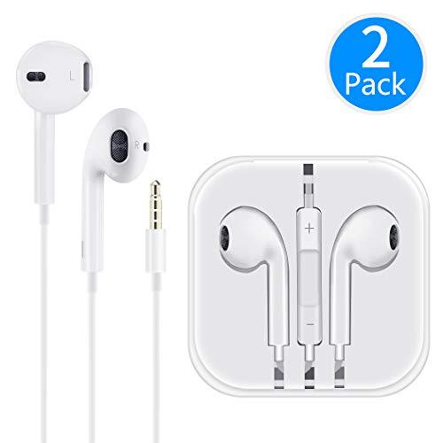 Écouteurs avec Micro et Microphone Contrôle du Volume Stéréo Isolation du Son pour iPhone 6s/ 6/5/ iPad/iPod/Android/ MP3 Deux Packs