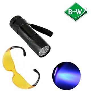 B+W Handels GmbH Fleckendetektor UV-9 incl. spezieller Filterbrille. Zum besseren Auffinden von Urinflecken oder Erbrochenem.