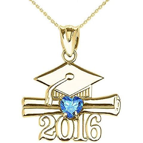 Donne Collana Pendente 10 Ct Giallo Oro Cuore Dicembre Birthstone Azzurro Zirconia Classe Del 2016 Graduazione (Viene Fornito Con Una Catena Da 45cm)