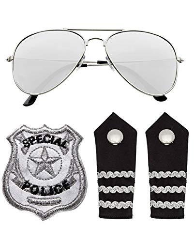 Horror-Shop US Police Officicer Kostümzubehör Set 4-TLG. als Cop Verkleidung für Karneval & JGA