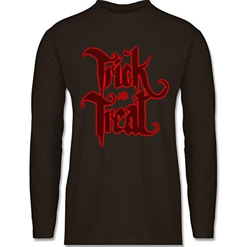Halloween - Trick or Treat Halloween Typo - Longsleeve / langärmeliges T-Shirt für Herren Braun