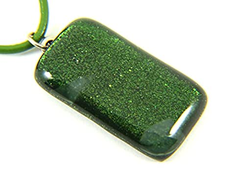 Christmas Gifts for Women Christmas Presents for Women - Dichroic Glass Pendant - Green 3.5cm x 2cm & Includes Gift