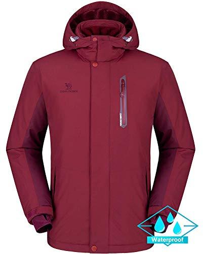 CAMEL CROWN Herren Wasserdichte Wanderjacke Regenjacken Outdoor Funktionsjacke Full Zip mit Fleece-Futter, Winddichte Warmer Mantel Jacke mit Kapuze für Winterwandern Ski Sports Freizeitjacke