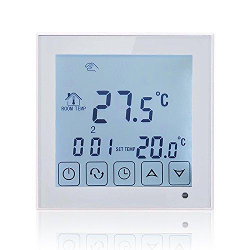 BEOK bot-323W programmierbares digitales Raumthermostat für Gasheizer, Temperaturregelnd mit LCD-Touchscreen, verkabelt, AA Batterie-betrieben, weiß 3A, weiß, 1.50 voltsV