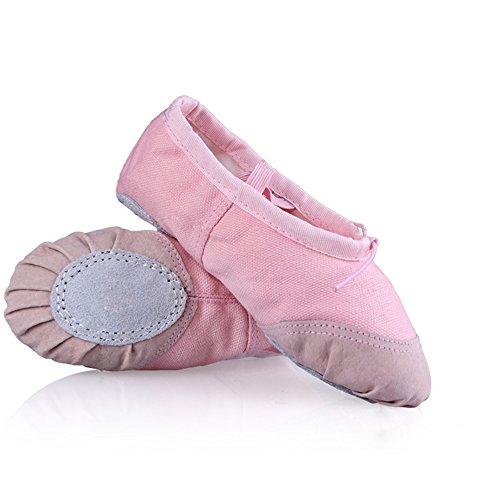 WinCret 1 Paar Ballettschuhe - Hochwertig Breathable Ballettschläppchen Spitzenschuhe Ballerina Schuhe geteilte Ledersohle für Mädchen (Turnschuhe Wei Leinwand)