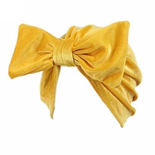 Vintage-stil-bogen (Saingace Frauen Bogen Krebs Chemo Hut Beanie Schal Turban Kopf Wrap Cap (Gelb))