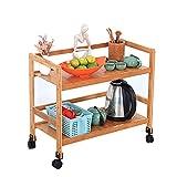 Bewegliches Regal Küche Servierwagen Wagen 2 Ebenen Küchen-Aufbewahrungswagen auf Rädern Restaurant-Aufbewahrungs-Veredelungsregale Bambus Möbelrahmen (Farbe : D)
