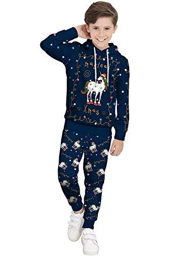 BesserBay Mädchen Weihnacht Kapuzenpullover Unisex Langarm Hoodie mit Kapuze Sweatshirt Kapuzenjacke Oberteil + Hose Einhorn