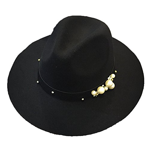 Sitong femmes loisirs r¨¦tro perles rhinestone grand - brimmed chapeau Noir