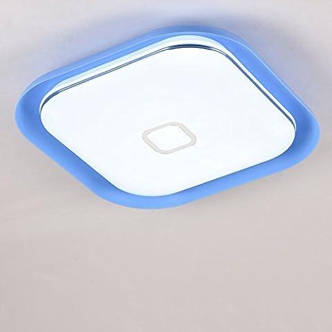 larsure Plafonnier carré LED minimaliste 3 gradateur de lumière plafond document Chambres Enfants Chambre salon étude restaurant 50cm,plafonnier bleu