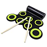 OLDF Roll Up Drum Practice Pad Portable Electronic Drum Set, Headphone Jack Built-in Speaker Perfect for Practice Drum Starters, Beginners Great Holiday Birthday Gift for Kids,Green
