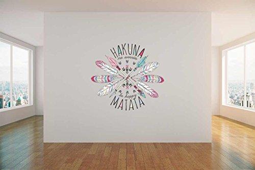 Vinilo decorativo pared 3D Hakuna matata flechas   Varias Medidas 100x100cm   Adhesivo Resistente y de Fácil Aplicación   Multicolor   Pegatina Adhesiva Decorativa de Diseño Profesional
