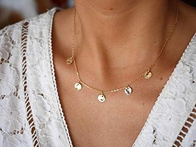Collier cinq médailles martelées - collier plaqué or - cercles dorés - bohème-chic - boho - collier disques - collier 5 médailles or