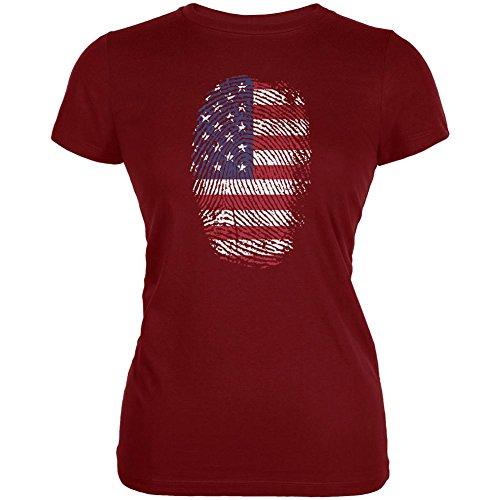 4. Juli American Fahne Stolz Daumenabdruck Juniors Soft T-Shirt Garnet Red SM (T-shirt Stolz Juniors)